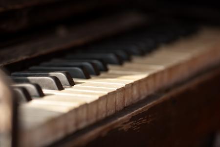close-up of piano keys  close frontal view Stock Photo