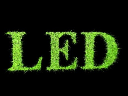 LED word for Light bulb concept photo