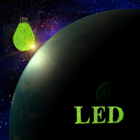 LED word for Light bulb concept photo