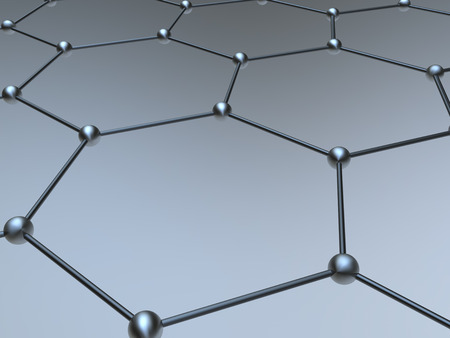 fragment: Graphene molecule structure fragment schematic model Stock Photo