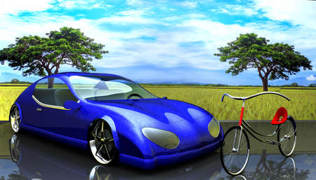 Non-branded generic concept car and bike photo