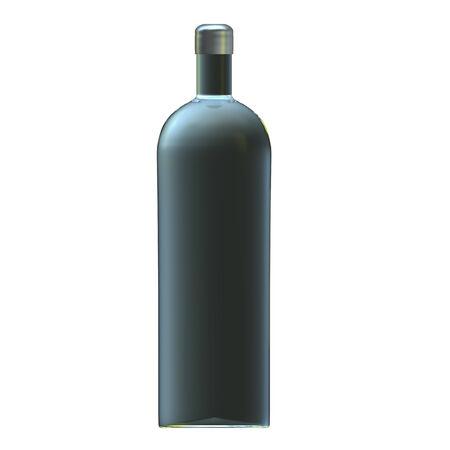 distill: Glass vodka bottle with silver cap Stock Photo