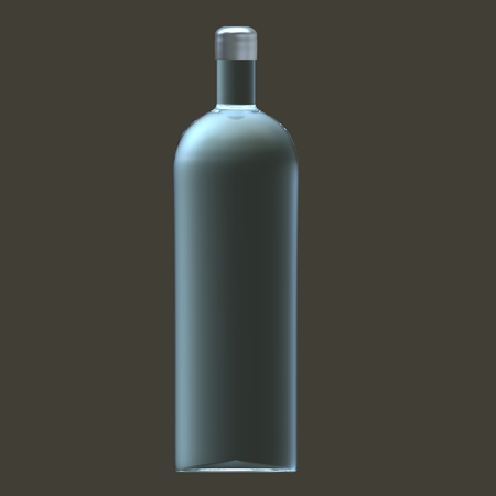 flavored: Glass vodka bottle with silver cap Stock Photo