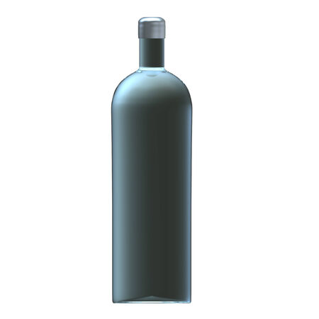 Glass vodka bottle with silver cap photo