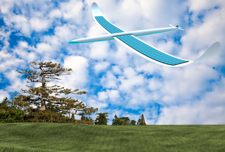 alternativ: Solar energy airplane with cloudy blue sky Stock Photo
