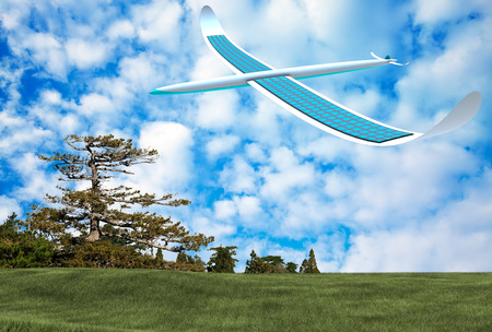 alternativ: Solar energy airplane on blue sky Stock Photo
