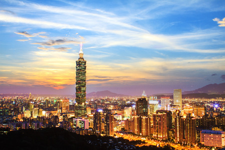 Nice view of Taipei night, Taiwan for adv or others purpose use Éditoriale