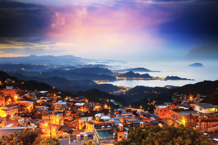 The seaside mountain town scenery in Jiufen, Taiwan Archivio Fotografico