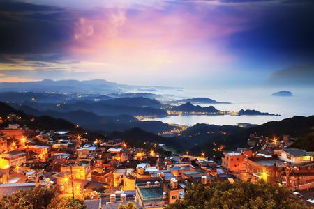 The seaside mountain town scenery in Jiufen, Taiwan Stock Photo