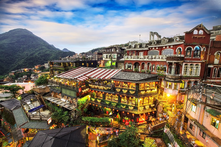 Hillside teahouses in Jiufen, Taiwan for adv or others purpose use Archivio Fotografico