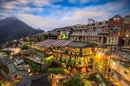 Hillside teahouses in Jiufen, Taiwan for adv or others purpose use Stock Photo