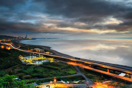 Panoramic view of beach skyline and highway for adv or others purpose use photo
