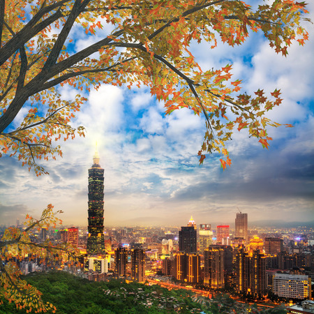 Taipei, Taiwan evening skyline for adv or others purpose use
