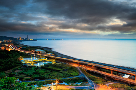 Sunset road on the coast of the west Taiwan for adv or others purpose use photo