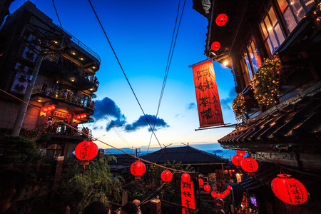 jiufen: New Taipei City, Taiwan - July 27, 2014  The seaside mountain town scenery in Jiufen, Taiwan
