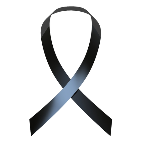 melanoma: Black awareness ribbon on white background for adv or others purpose use