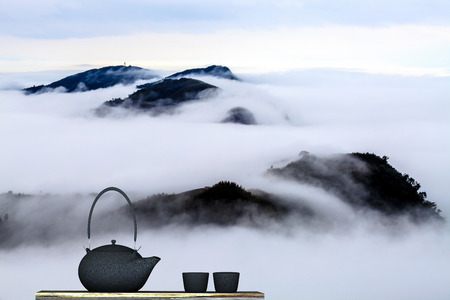 stand teapot: Black teapot with nice background