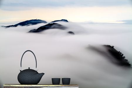 Black teapot with nice background photo