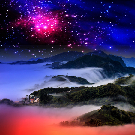 ountain landscape in winter by night for adv or others purpose use photo