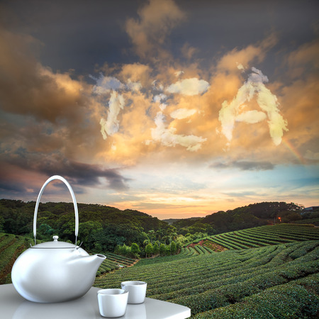 steam jet: Teapot with nice background for adv or others purpose use Stock Photo