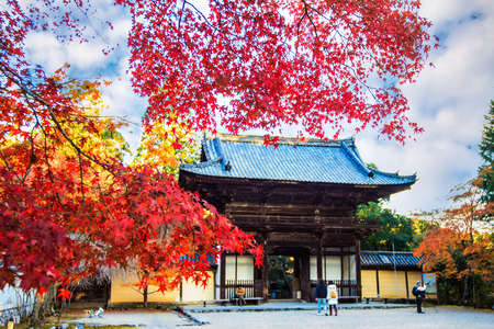 harajuku: Kyoto, Japan - November 20, 2013: Jingo-ji is a Buddhist temple in Kyoto. It stands on Mount Takao to the northwest of the center of the city. The temple adheres to Shingon Buddhism