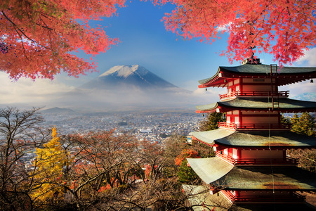fuji san: Mt. Fuji with fall colors in Japan.