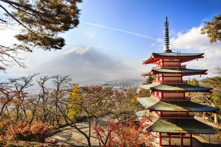 kawaguchi ko: Mt. Fuji with fall colors in Japan.