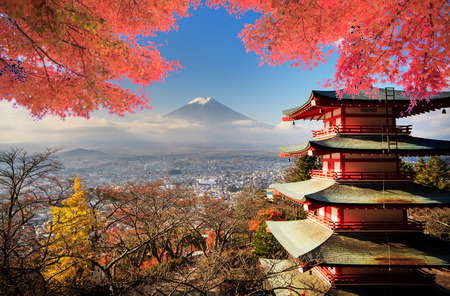 fuji san: Mt. Fuji with fall colors in Japan for adv or others purpose use