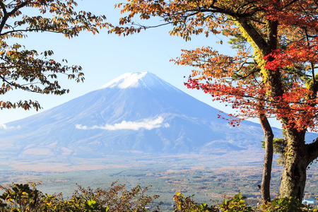 temple tower: Mt. Fuji with fall colors in Japan for adv or others purpose use