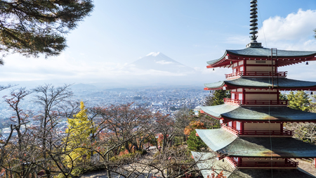 seaonal: Mount Fuji and Chureito Pagoda, Japan  Stock Photo