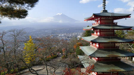 unesco: Image of the sacred mountain of Fuji in the background of blue sky at Japan for adv or others purpose use
