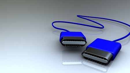 coating: USB plugs in a blue plastic coating