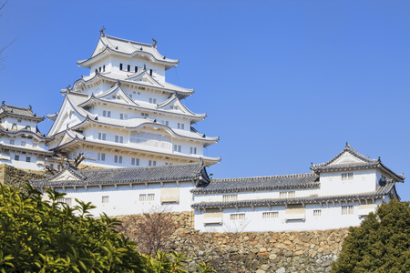 blossom time: Himeji, Japan - March 28, 2015: himeji castle during cherry blossom time