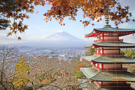 fujisan: Mt. Fuji with fall colors in Japan for adv or others purpose use