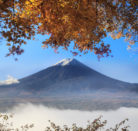 koyo: Mt. Fuji with fall colors in japan for adv or others purpose use Stock Photo