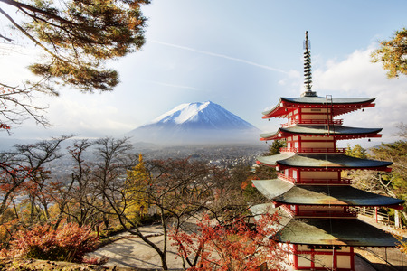 fujisan: Mt. Fuji with fall colors in japan for adv or others purpose use Stock Photo