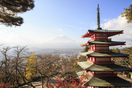 fuji san: Mt. Fuji with fall colors in japan for adv or others purpose use Stock Photo