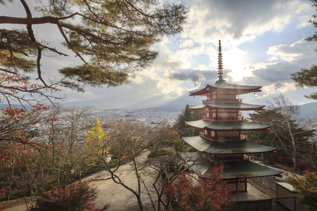 koyo: Mt. Fuji with fall colors in japan  Editorial