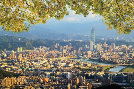 Taipei Taiwan evening skyline