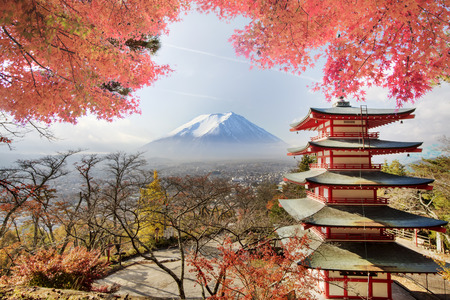 koyo: Mt. Fuji with fall colors in japan for adv or others purpose use Editorial