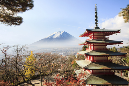 fujigoko: Mt. Fuji with fall colors in japan for adv or others purpose use Editorial