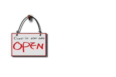 open sign: come in we are open hanging sign isolated on wall for adv or others purpose use Stock Photo