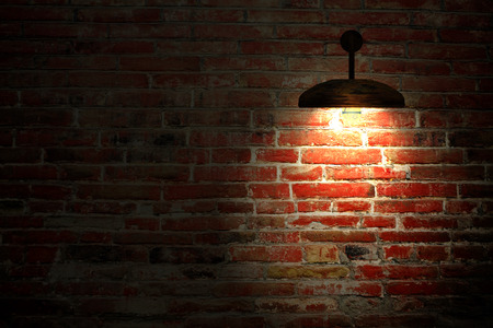jiufen: Old interior room with brick wall and three light spots for adv or others purpose use Stock Photo