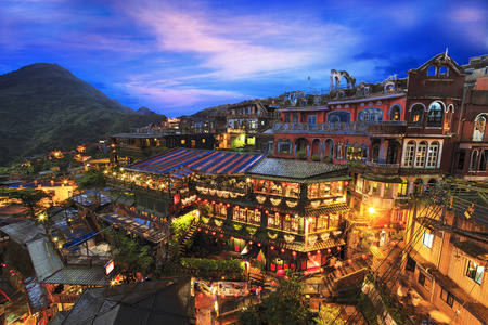 night scene of Jioufen village, Taipei, Taiwan for adv or others purpose use Editoriali