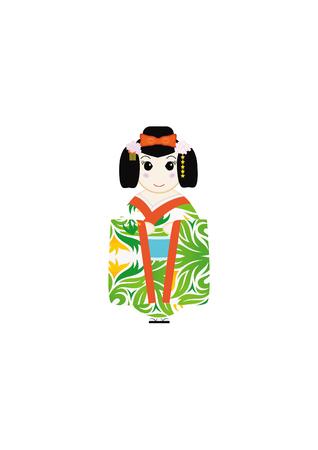 cute Japanese Kokeshi Dolls illustrator design Stock Illustratie