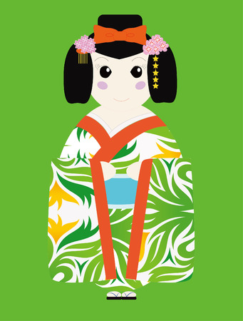 Cute Japan Doll illustrator design with nice background color