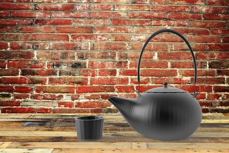 dinne: The teapot and cup with nice background