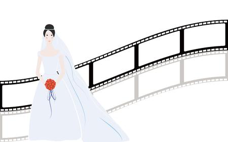 Beautiful simple bride with nice background Stock Illustratie