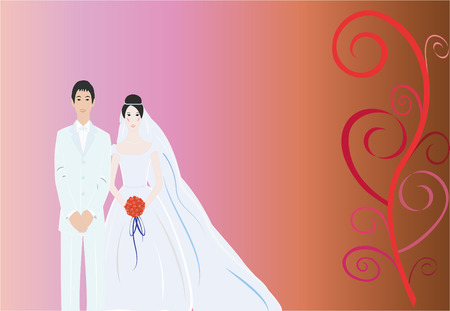 auburn: Beautiful simple bride with nice background Illustration
