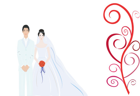 outdoor wedding: Beautiful simple bride with nice background Illustration